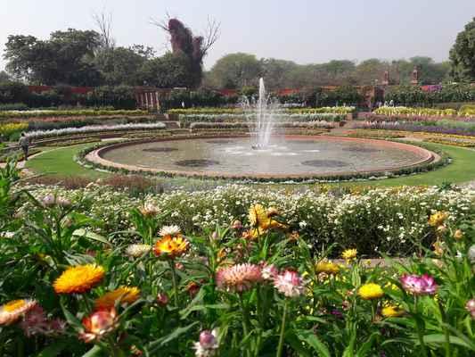 Kolem okružní zahrady jsou prostory pro kancelář zahradníka, skleník, obchody, školky apod