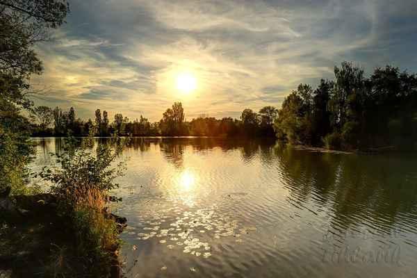 Spytihněv, vodní plocha U jezu, západ slunce.