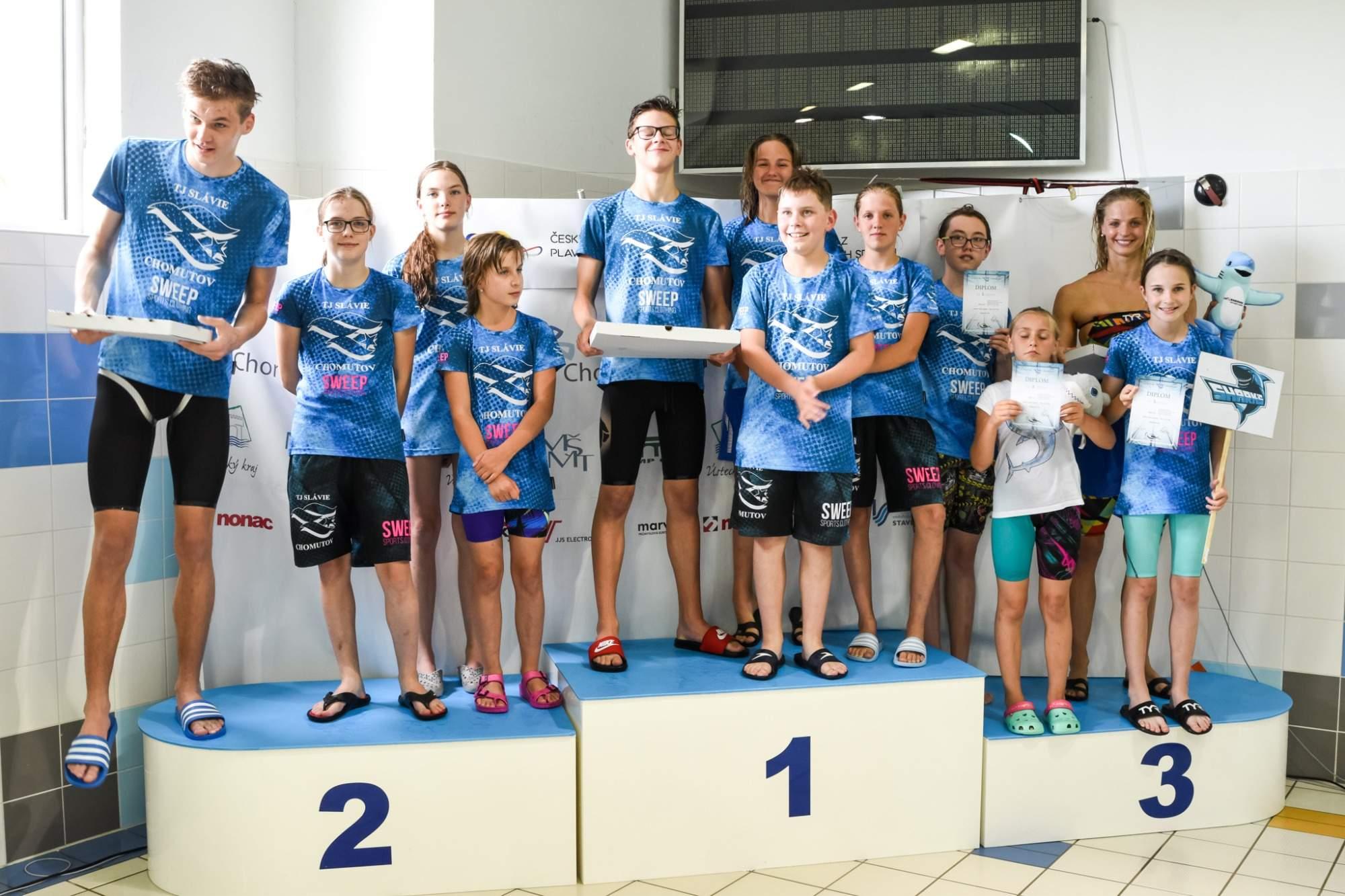 Vítězné štafety - Zleva Barbie & Ken, Moninci a Žraloci