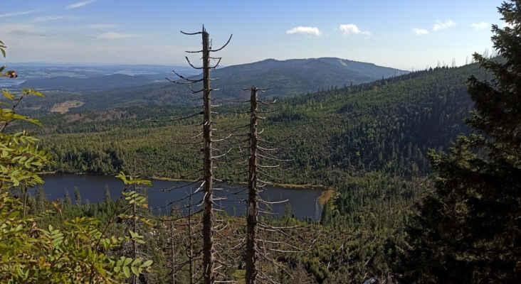 Plešné jezero, v pozadí vpravo s masívem Smrčiny, vlevo Lipno