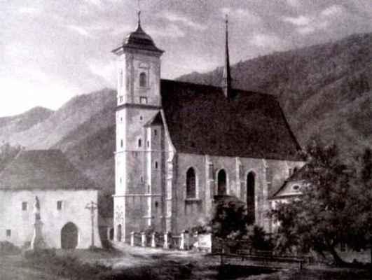 Obraz na hradě Pernštejně (z roku 1867), socha sv. Jana Nepomuckého stála původně u zdi Jamborova domu a do kostela se chodilo po lávce přes potok Rakovec, který tekl přes dolní část náměstí kolem budovy Staré školy do řeky Svratky.