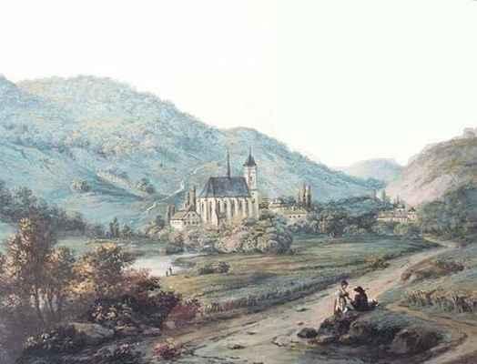 Obraz Doubravníka z 1.poloviny 19.století - pohled od Černvíru