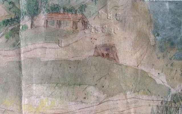 Veduta Doubravníka z konce 18. století - cihelna nad Rakovcem.