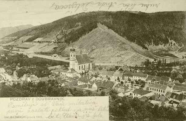 """Anda Dolejšová píše roku 1905 """"Pozdrav z Doubravníka"""""""