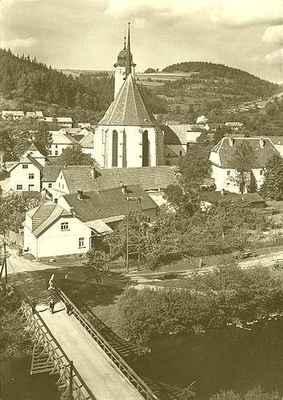 Doubravník - starý dřevěný most přes řeku Svratku